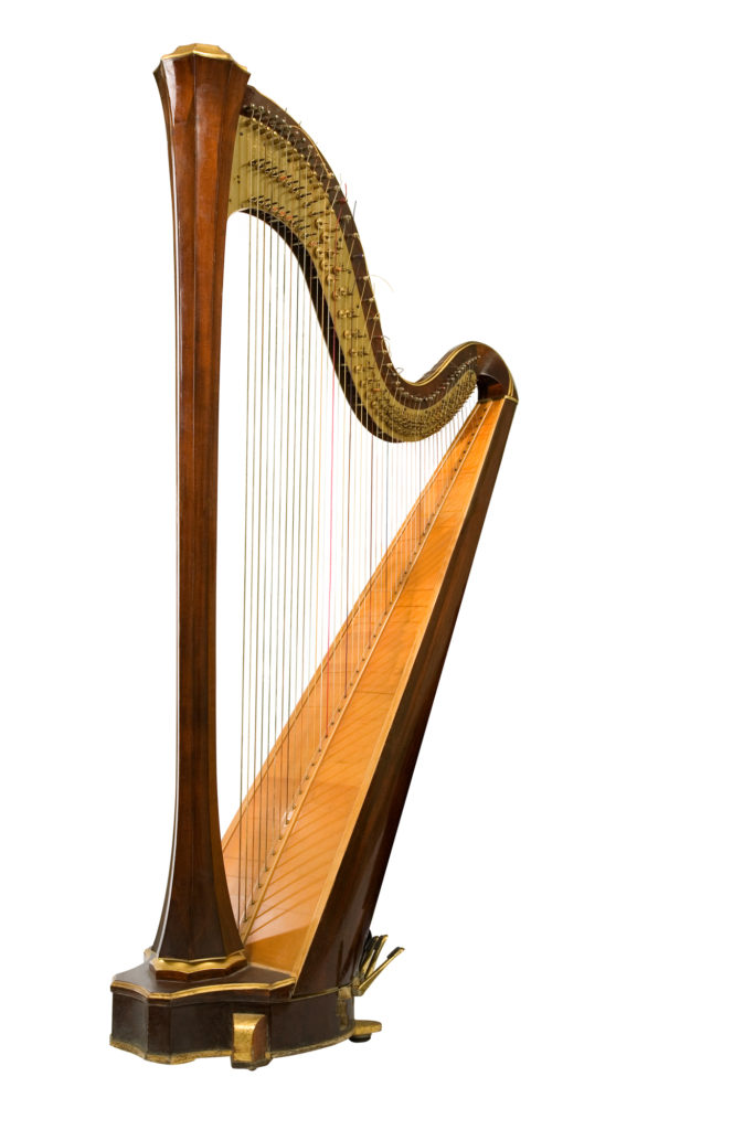 Classical musical instrument harp on a white background